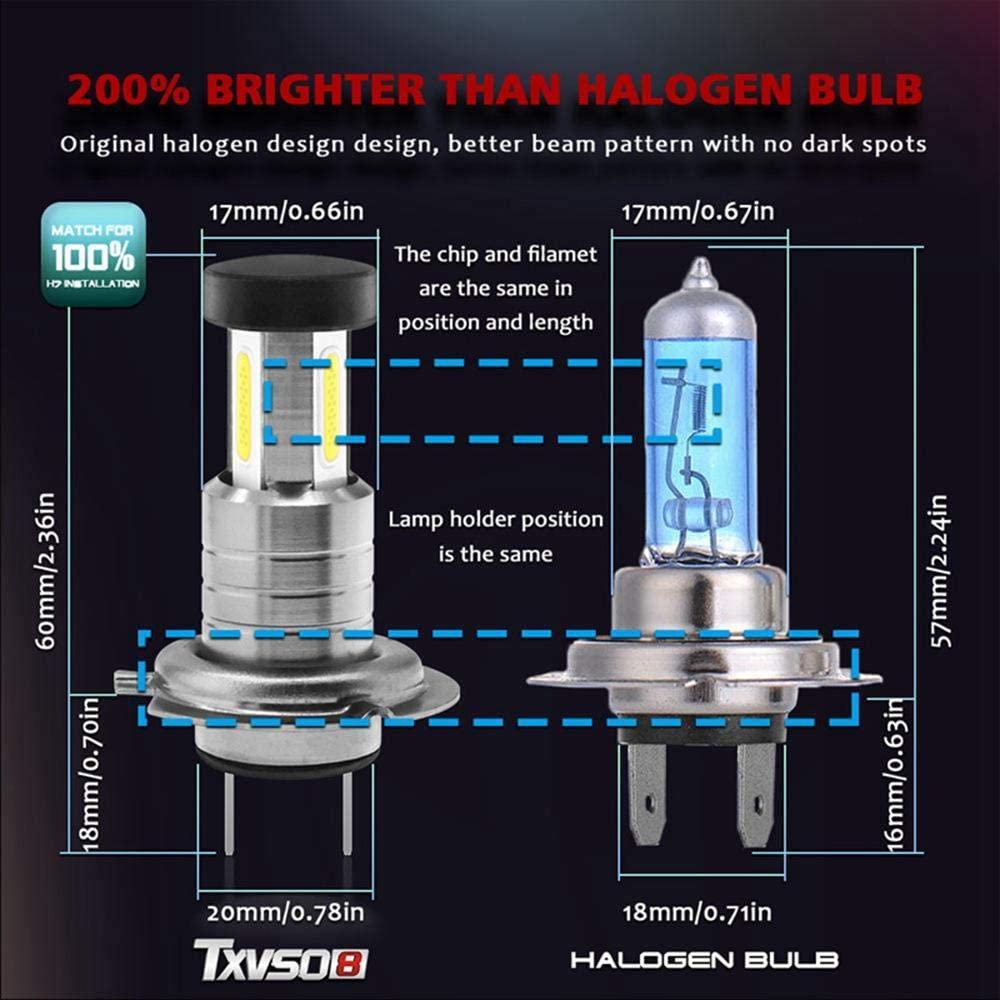 55W//Bulb 2Pcs H7 LED Headlight Bulbs 2020 Upgrade Waterproof 26000LM 6000K Super Bright Automobile Lamp Replacement with Advanced COB Chips,Fit for All H7 Car