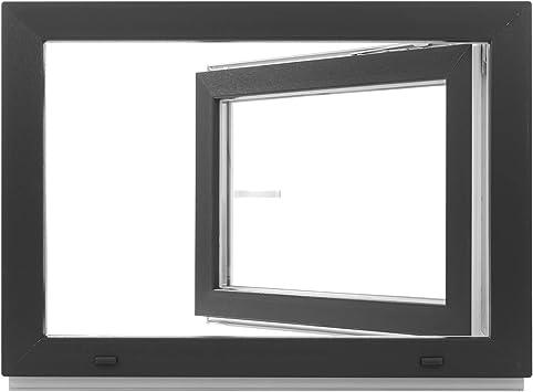 BxH: 100 x 50 cm Kellerfenster DIN Rechts anthrazit//wei/ß Kunststoff Fenster