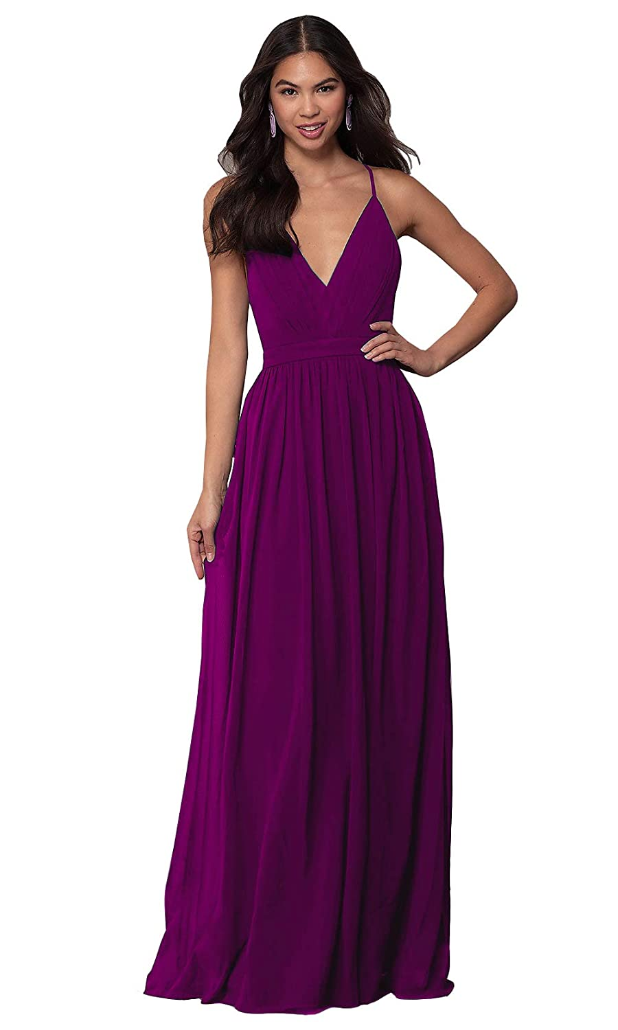 Dark Purple Sexy V Neck Spaghetti Straps Criss Cross A Line Long Formal Bridesmaid Dresses
