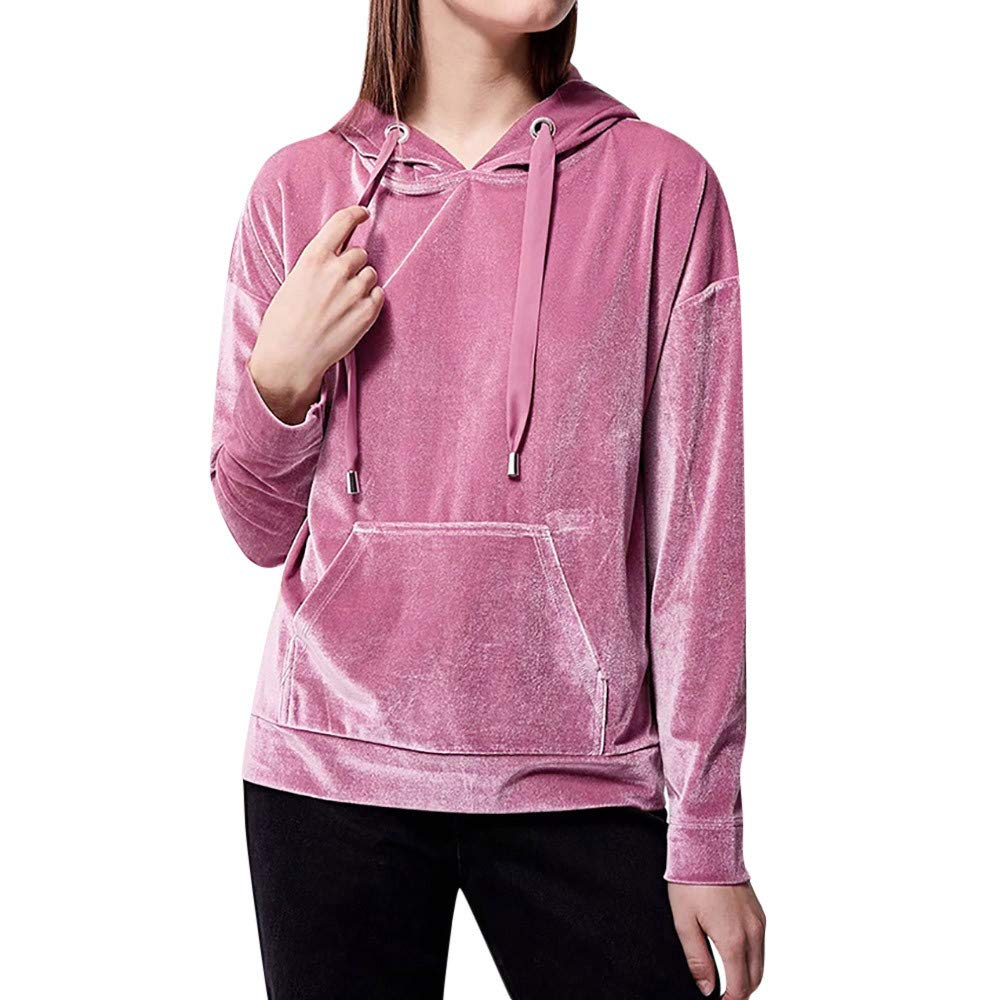 YANG-YI Clearance Sale Women Fleece Blouse Solid Color Regular Hooded Pocket Long-Sleeved Sweater 2XL