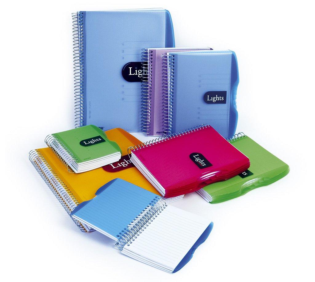 Mintra Corporation Notizbuch Lights, 150 Blatt, DIN A4/A5/A6, liniert oder kariert, PP-Umschlag, Spiralbindung, Spiral-Notizbuch mit Hardcover (DIN A4- kariert, pink) FALAMBI