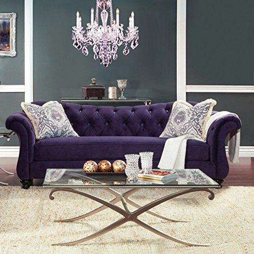 Furniture of America Wellington Premium Fabric Sofa – Purple