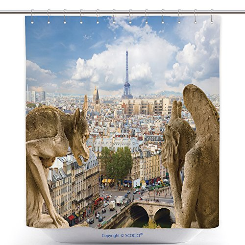 Costume Notre Dame De Paris (Funky Shower Curtains Gargoyle On Notre Dame Cathedral And City Of Paris France 200707244 Polyester Bathroom Shower Curtain Set With Hooks)