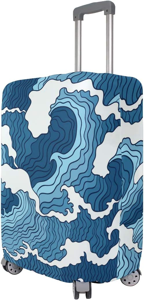 FOLPPLY Japanese Abstract Blue White Wave Luggage Cover Baggage Suitcase Travel Protector Fit for 18-32 Inch
