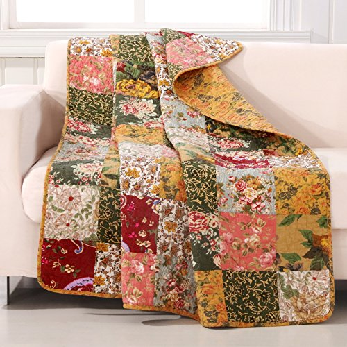 Cotton Floral Throw Quilt - Greenland Home Antique Chic Quilted Patchwork Throw