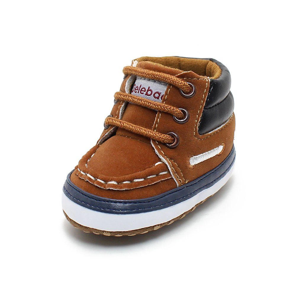 Delebao Infant Toddler Baby Lace Up Soft Sole High-top Suede Warm Sneakers Snow Boots