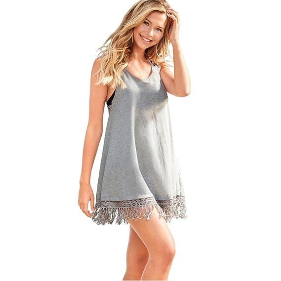 Vestidos de Mujer, ASHOP Vestido Verano 2018 Sin Mangas Casual Ajustados T-Shirt Vestido Coctel Fiesta Corto Dress Borla Mini Playa Falda Elegantes en ...