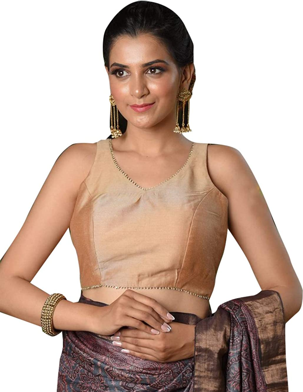 Golden Bollywood Readymade Saree Blouse Indian Sequence Embroidered Choli Stitched Sari Wedding wear Fabric Craft Tunic Top Brides Women