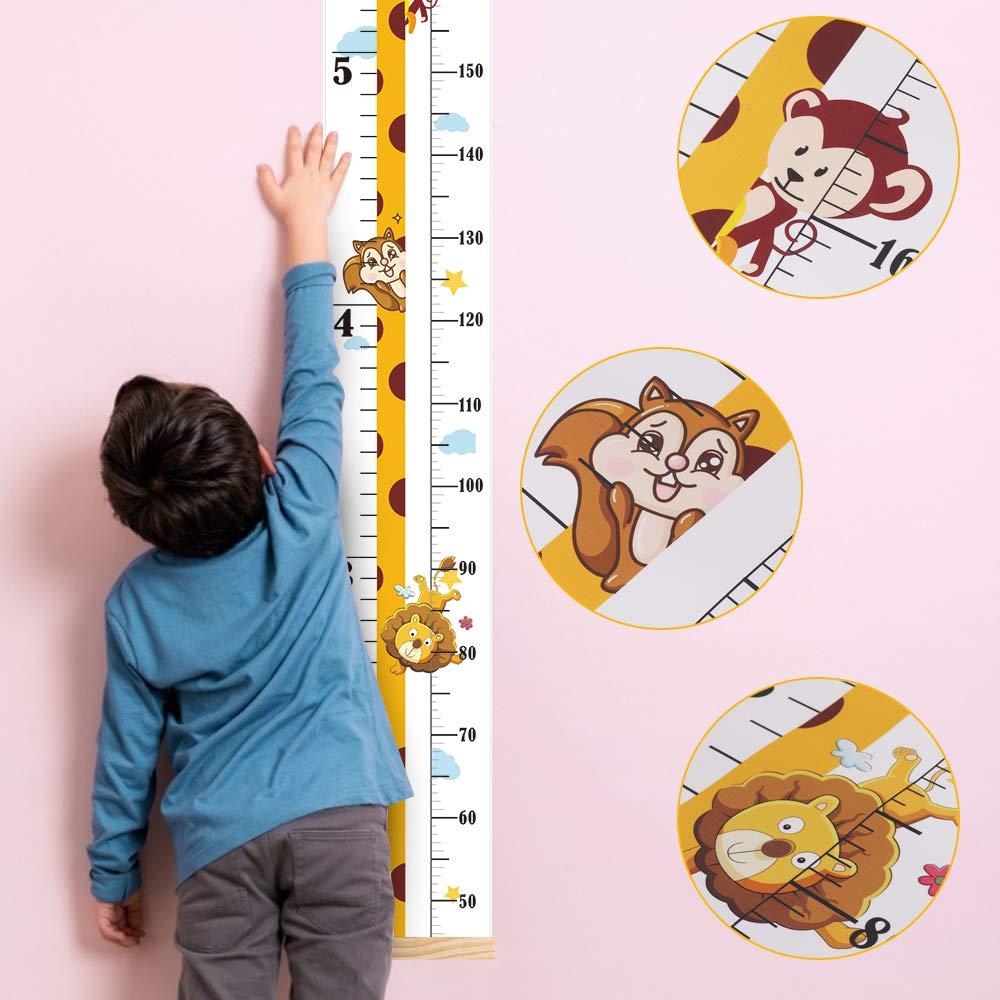 Wand aufh/ängen messlatte Lineal f/ür Kinder Baby H/öhe Wachstum Diagramm Abnehmbar Leinwand und Holz Wand Lineal Schlafzimmer Kinderzimmer Wanddekoration