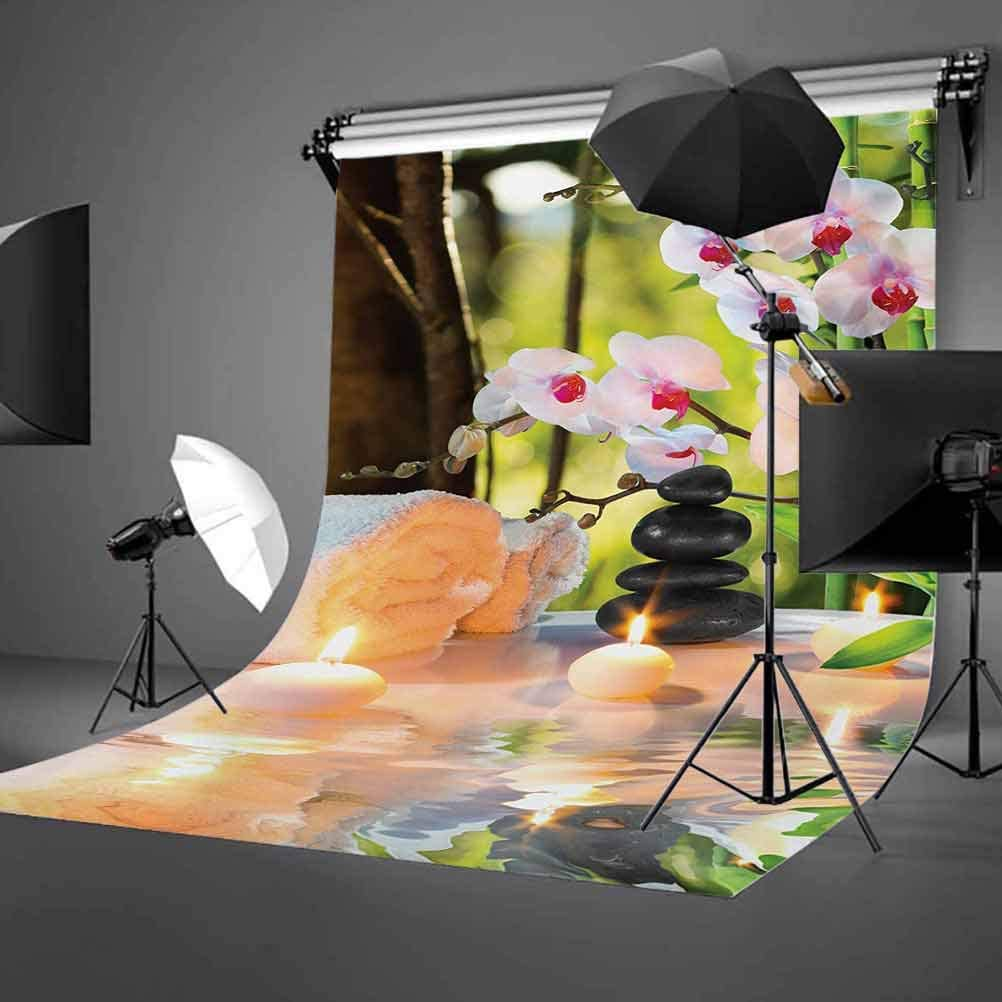 Spa 6.5x10 FT Backdrop Photographers,Massage Composition Spa Theme with Candles Orchids and The Stones in Garden Background for Photography Kids Adult Photo Booth Video Shoot Vinyl Studio Props