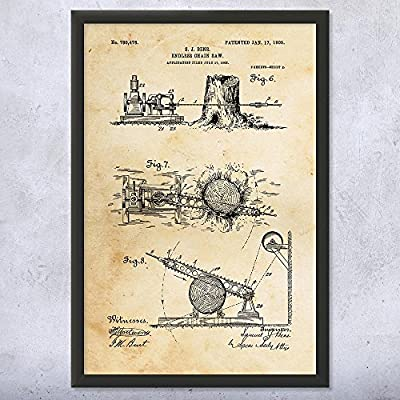 Framed Endless Chain Saw Art Print, Chainsaw, Chainsaw Patent, Logging Gift, Logger Gift, Logging Equipment, Patent