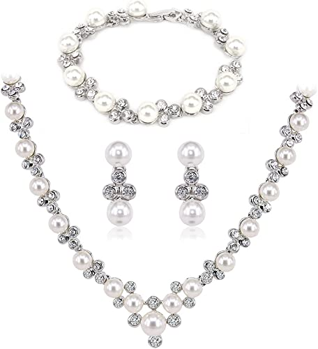 Mujer Noble Boda Novia Kristall Perla simulada Elegante Dangle Juegos de Joyas Collar Pulsera Arete Pendientess Plata-Tono