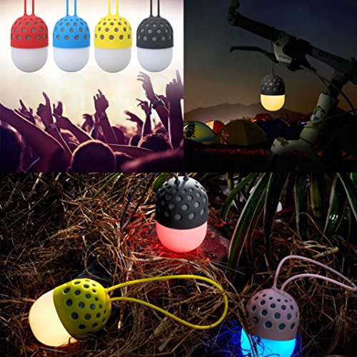 Price comparison product image GBSELL Colorful LED Lights Firefly Waterproof Wireless Bluetooth Speakers Portable Outdoor (Yellow)