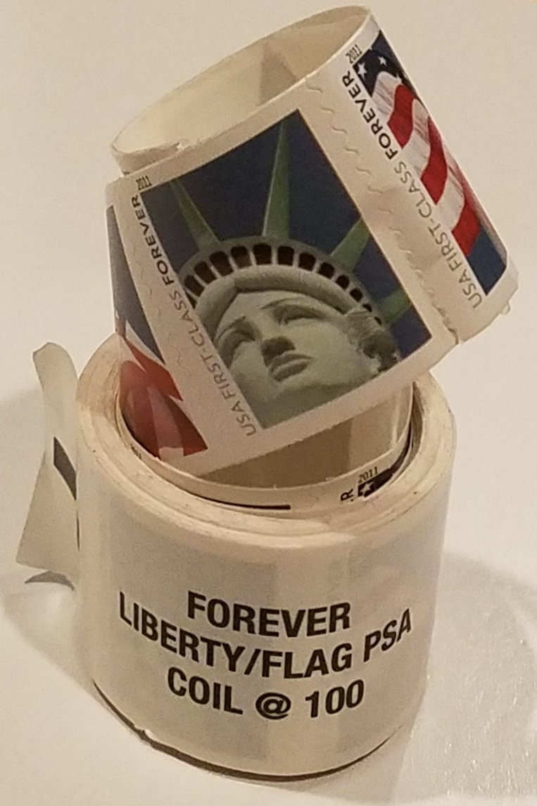 1 Coil Lady Liberty and U.S. Flag Forever Stamps 100 ct by USPS