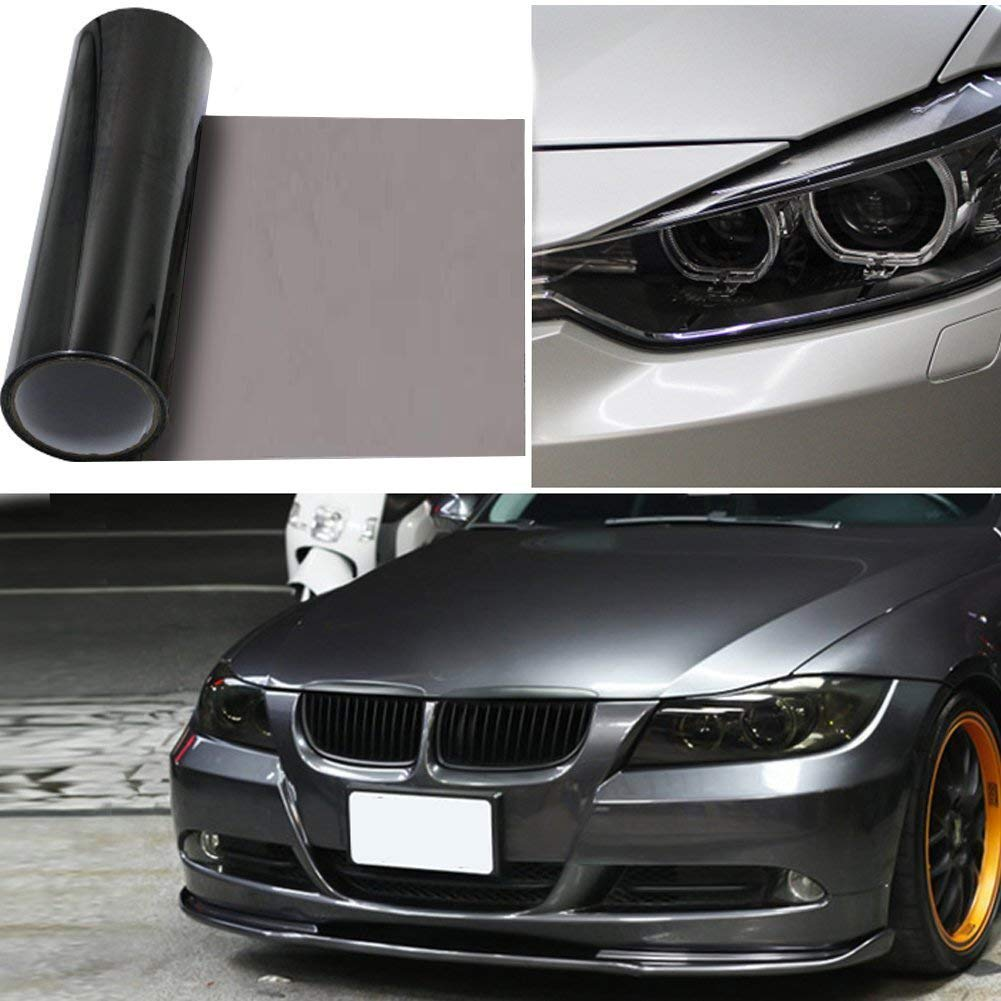 2pcs-in-1roll 12'x48' Car Smoke HeadLight Tint Wrap, GOGOLO Waterproof Fog Light Adhesive Vinyl Tint 90% Transmittance Taillight Film Sheet Sticker for Vehicle Motorcycles Lamp and Window Windshield Protection (Black)