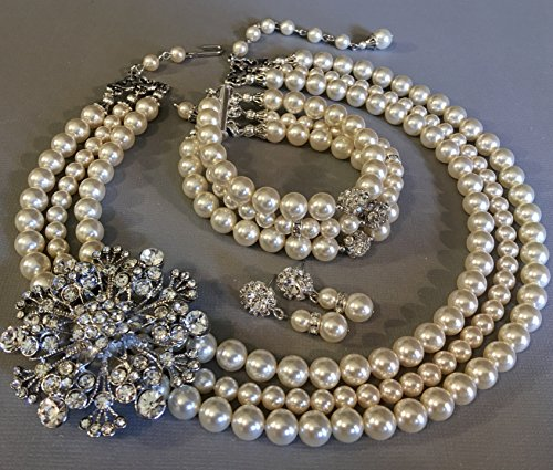 Complete Jewelry Set with Classic Pearl Necklace with Brooch Bracelet Earrings in a Vintage style Rhinestone Brooch 3 multi strands Swarovski pearls Cream Ivory or White by Alexi Blackwell Bridal -