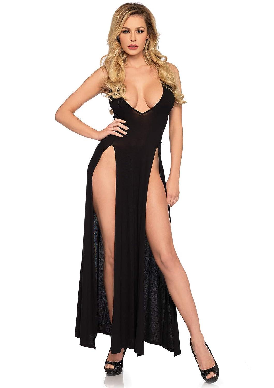 Leg Avenue Womens Dual Slit Jersey Maxi Dress