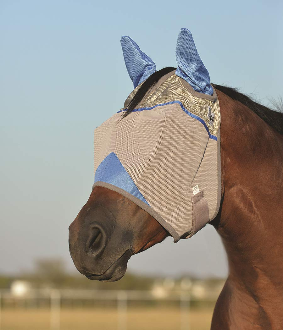 Cashel Crusader Standard Fly Mask with Ears and Blue Trim, Benefit Wounded Warriors - Size: Horse by Cashel