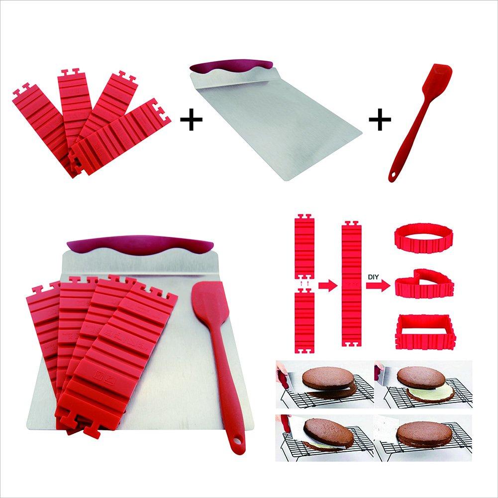CS CREATIVE STARTUP 7PCS Silicone Cake Mold Cake Pan Magic Bake Snake DIY Baking Mould Tools -1 pc brush 1 spatula 4 pc caje mold 1 pc cake and cookies lifter