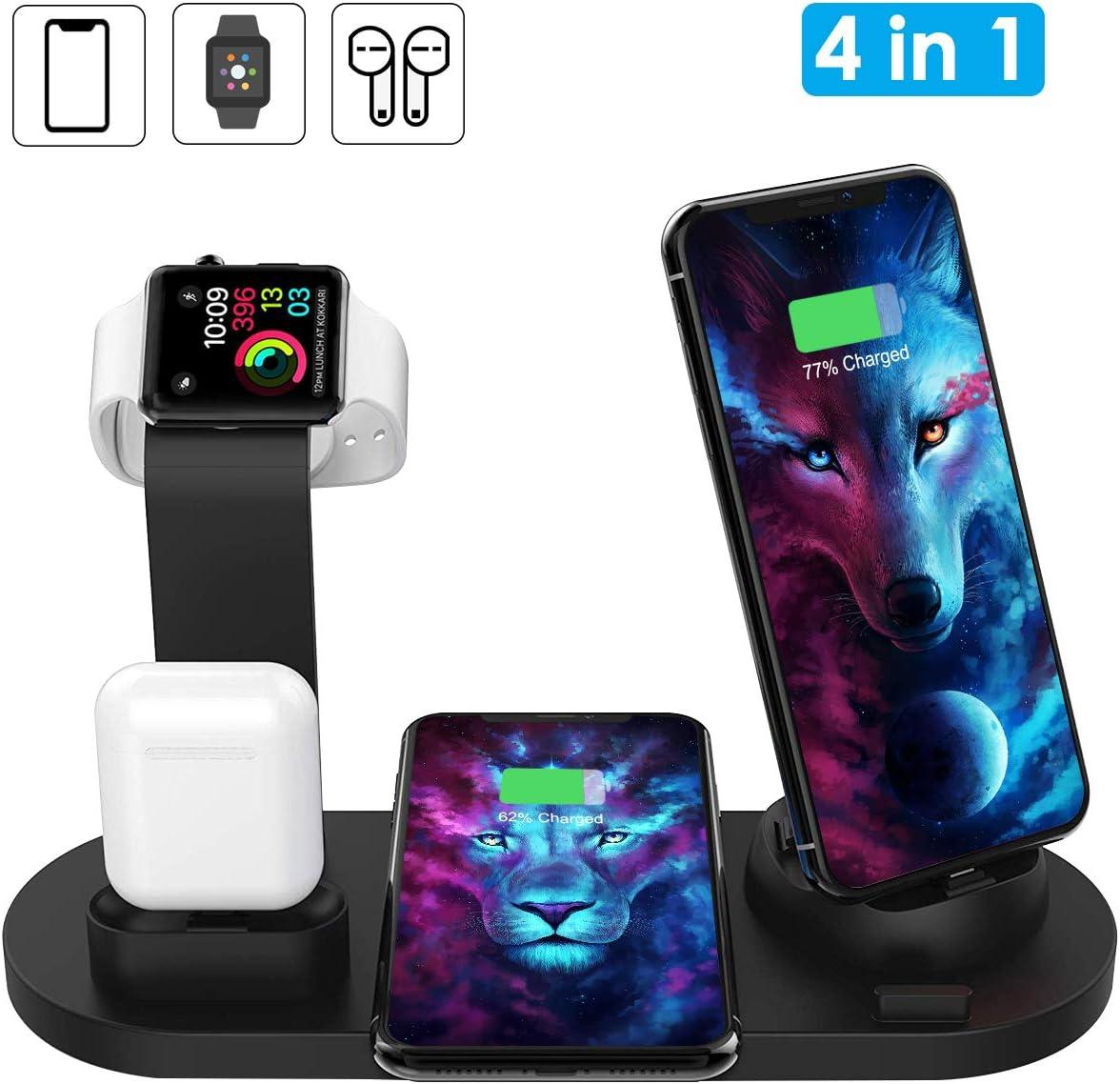 Cargador inalámbrico Rápido 4 en 1 para watch y airpods Annbrist Base de Carga inalámbrica Qi Compatible Phone 11/11pro/XS/ Samsung Galaxy S10 Plus/ Xiaom 9/ MIX3/MIX2S/Huawei Mate RS/20 Pro/P30 Pro