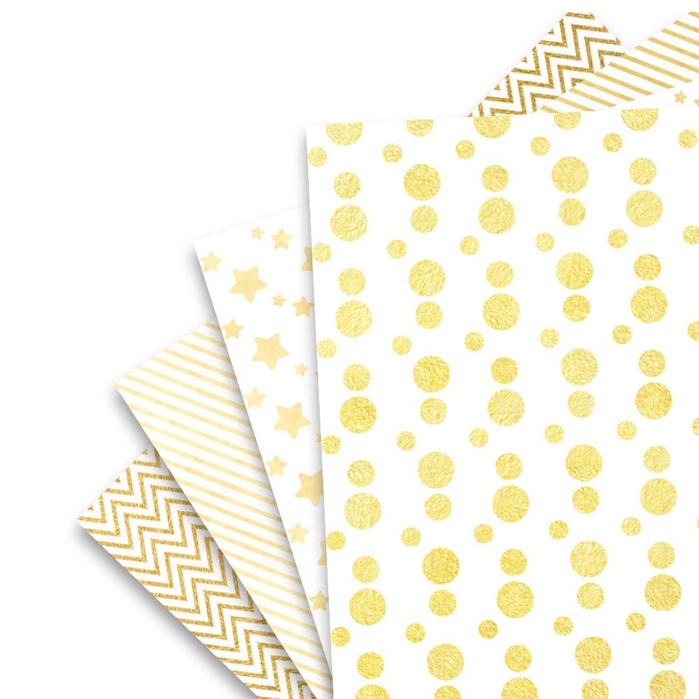 Ruiting 4pcs Envoltura de regalo del rollo de papel Dots / Estrellas / diseño de las rayas de presencia de papel de embalaje Decoración para la boda del bebé el día de cumpleaños de la madre Día de San Valentín Ducha del papel de regalo