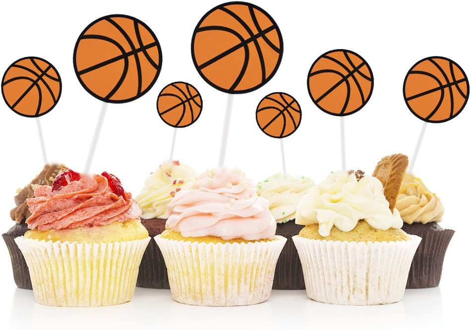 HOKPA Basketball Cupcake Toppers Cake Fruit Food Picks Dessert Table for Boys Kids Birthday Party Baby Shower Wedding Christmas Decor (30PCS)