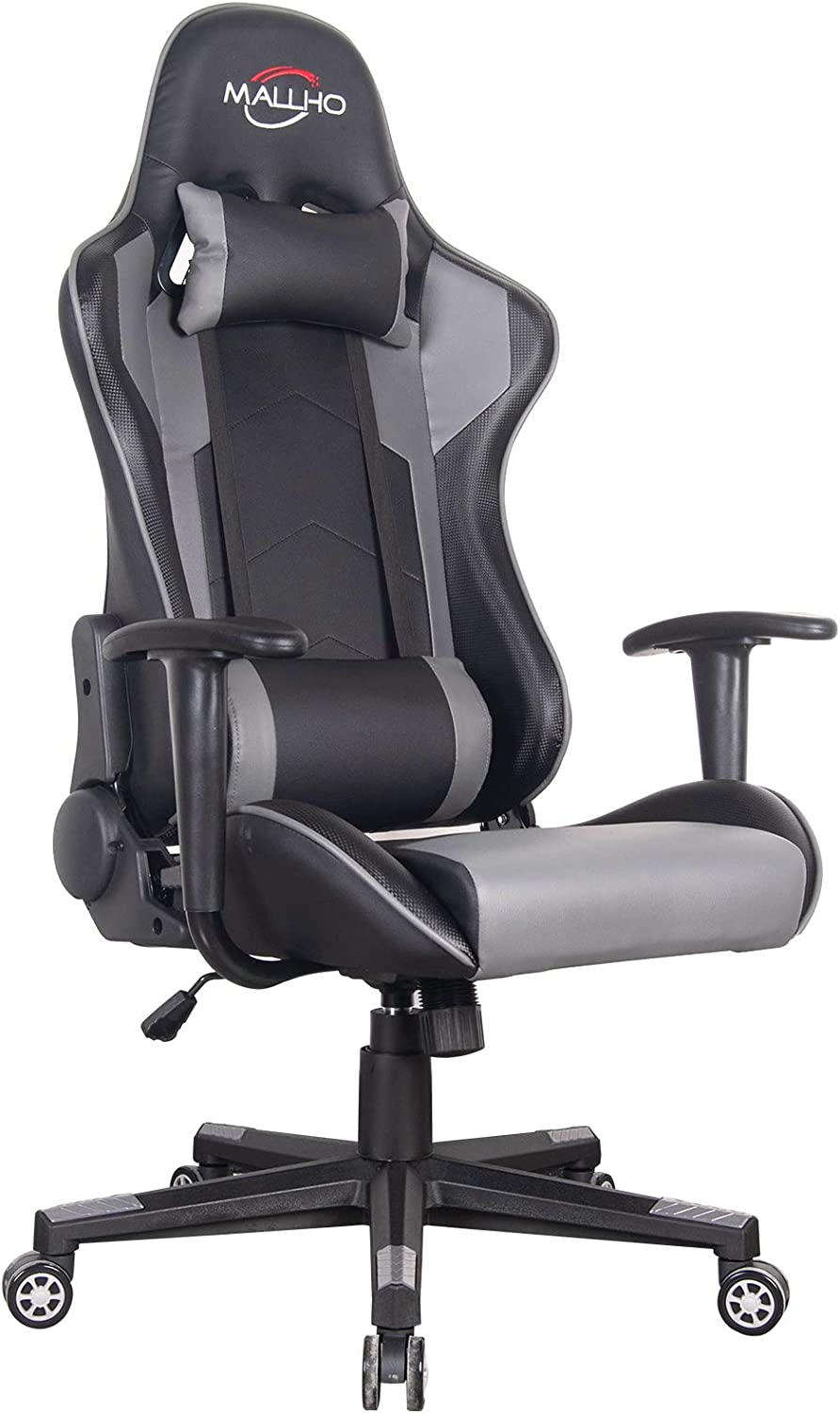 Polar Aurora Gaming Chair Racing Style High-Back PU Leather Office Chair Computer Desk Chair Executive Ergonomic Style Swivel Chair Headrest Lumbar Support (Black)