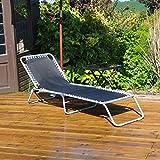Kingfisher FSSUNL Aluminium Framed Adjustable Sun Garden Lounger - Black