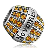 JMQJewelry Happy Birthstone Birthday Novembers Charm Spacer Beads Yellow Rhinestone For Bracelets Charms