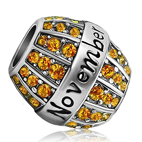 JMQJewelry Birthday Charms Bead For Bracelets (Yellow, November Birthstone)