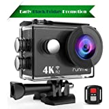 Runme 4K Sports Action Camera, 12MP Wi-Fi Camera 170-Degree Wide-Angle Lens, Underwater Action Cam 2.4G Remote Control Accessories (Runme R2)