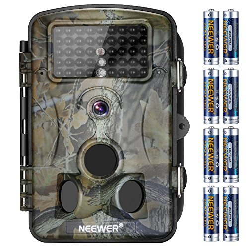 Lcd 42 Display 1080p (Neewer 1080P 12MP HD Digital Trail Camera 2.4 inches LCD Display, 42 IR LEDS, 120 Degree Wide Angle Night Vision, Waterproof Dustproof for Hunting Scouting Surveillance with 8 Pack AA Batteries)