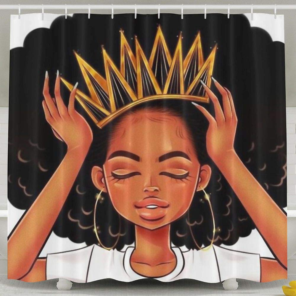 SARA NELL African American Women Girl with Crown Shower Curtain,Waterproof Mildew Resistant Polyester Fabric,Afro Girls Bath Curtains Bathroom Decorations Home Decor Sets,72x72 Inches with 12 Hooks
