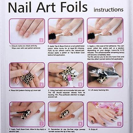 Amazon Nail Art Tips Design Transfer Foils Kit Adhesive Top