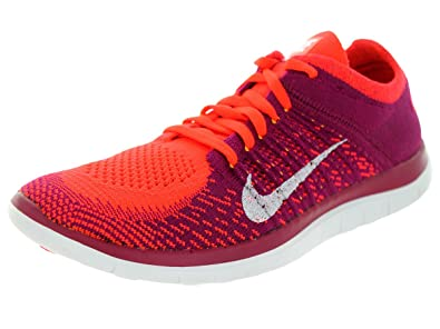 official photos 587aa 69ce7 Nike Free 4.0 Flyknit, Sneaker Femme - Rouge - (Bright Crimson White  Raspberry Red