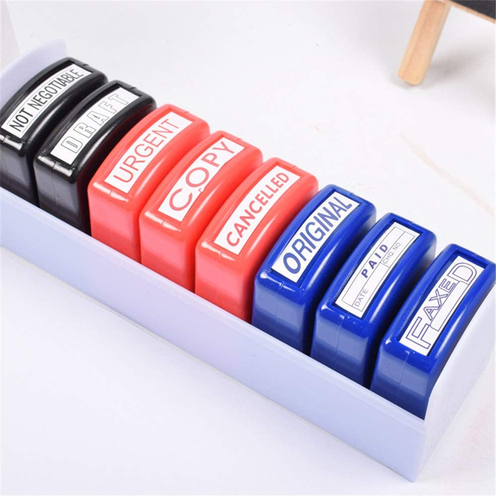 Home Office Business Rubber Stamp - Self Inking Pre-Inked Office Stamp Set, Message Account Stamp Office Stationary Stamper Business Paper Work Text File Stamps(8PCS) : Office Products