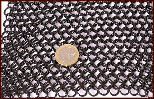 br/üniert Wikinger Mittelalter ID8mm LARP Battle-Merchant Kettenhaube mit quadratischem Mundschutz