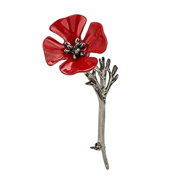 Poppy brooches vintage pin vintage banquet red poppy flower black poppy brooches vintage pin vintage banquet red poppy flower black leaves remembrance day gift mightylinksfo