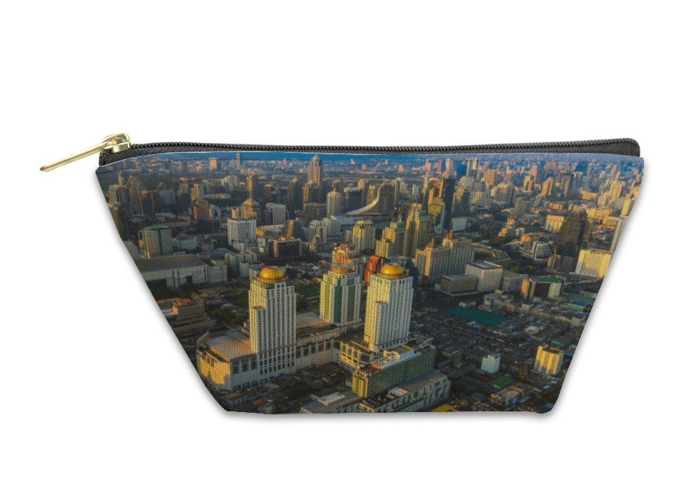 Gear New Accessory Zipper Pouch, Aerial View City Business District With Blue Sky, Large, 5877001GN