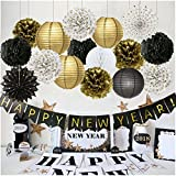 Arts & Crafts : Happy New Year Decorations Happy New Year Banner Chinese Paper Lanterns Tissue Paper Flowers Pom Poms Hanging Paper Fans New Years Eve Party Decorations Kit