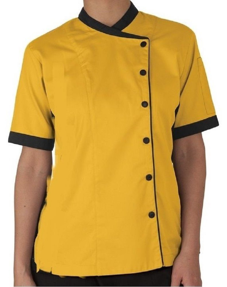 Short Sleeves Women's Ladies Chef's Coats Jackets (L (For Bust 38-39), Yellow)