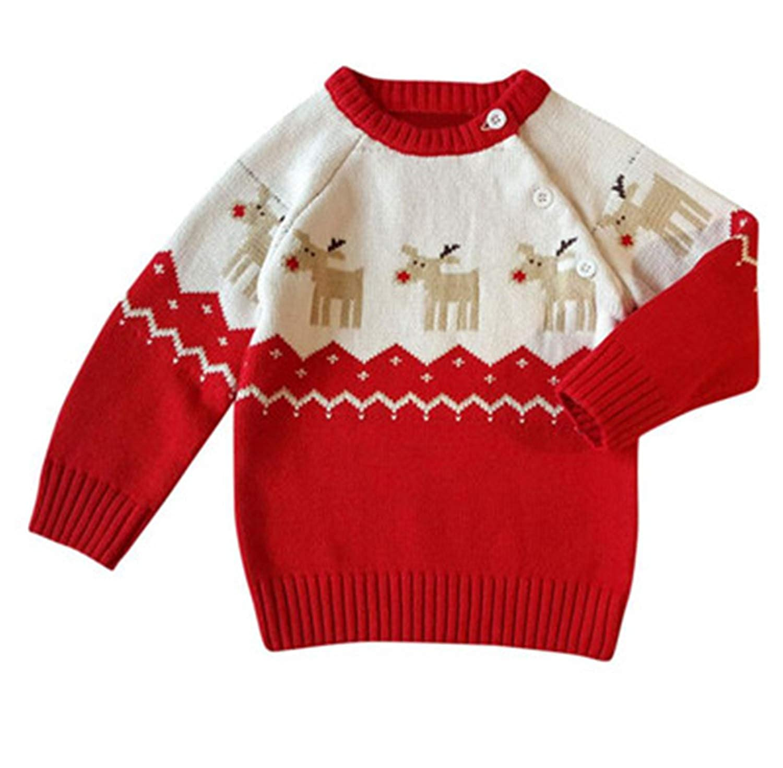 Toddler Unisex Fashion Button-Up Cotton Coat Cartoon Deer Christmas Cardigan Boys Sweaters