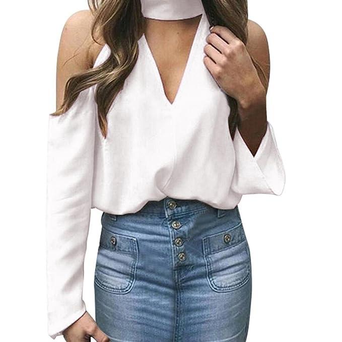 Blusas Atractivas de Mujeres Fuera de la Manga Larga del Hombro Camiseta con Escote en V