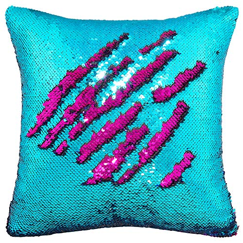 Play Tailor Mermaid Sequin Pillow Case Flip Sequin Pillow Cover Reversible Sequins Throw Cushion Cover 16x16 (Teal Blue and Fushia)