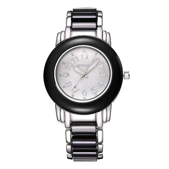 Weiqin relojes de marca para mujer Relojes de cuarzo mujeres pulsera, Blanco y Negro: Amazon.es: Relojes