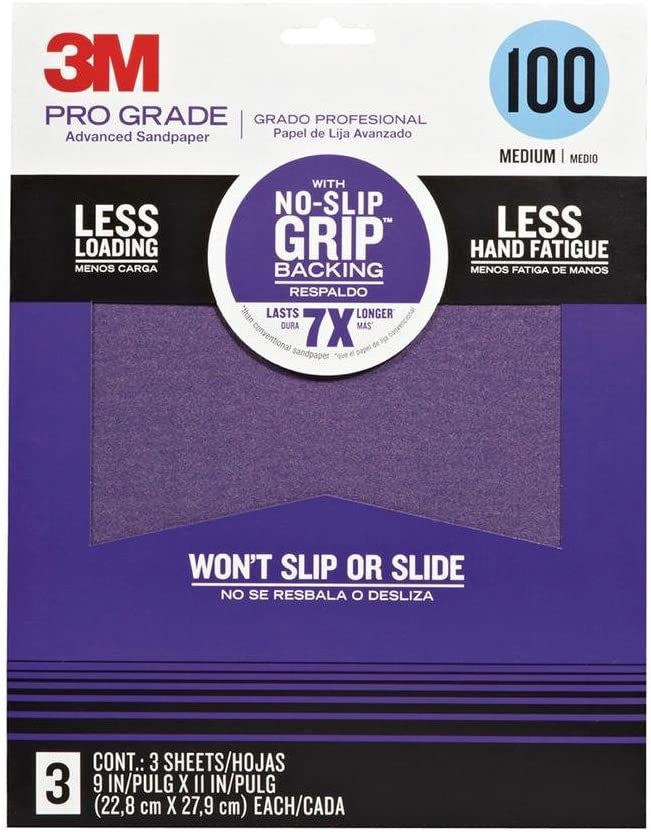 3M Pro Grade No-Slip Grip Sandpaper, 3-Pack, 100-Grit