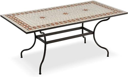 Tavoli Di Ferro Per Esterno.Tavolo Rettangolare Per Esterni Con Mosaico In Ceramica Amazon It