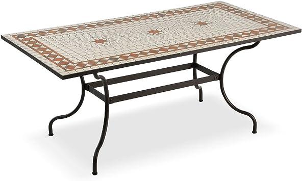 Mesa rectangular para exteriores con mosaico de cerámica: Amazon.es: Jardín