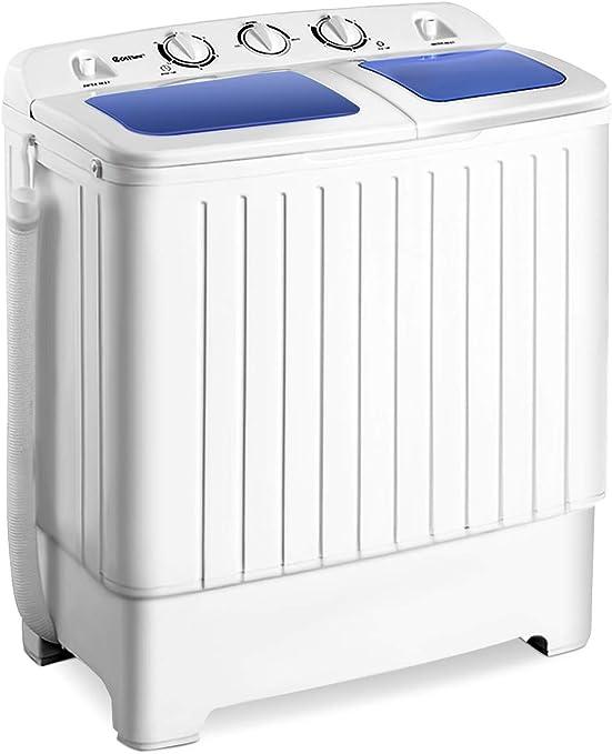 Amazon Com Giantex Portable Mini Compact Twin Tub Washing Machine 17 6lbs Washer Spain Spinner Portable Washing Machine Blue White Appliances