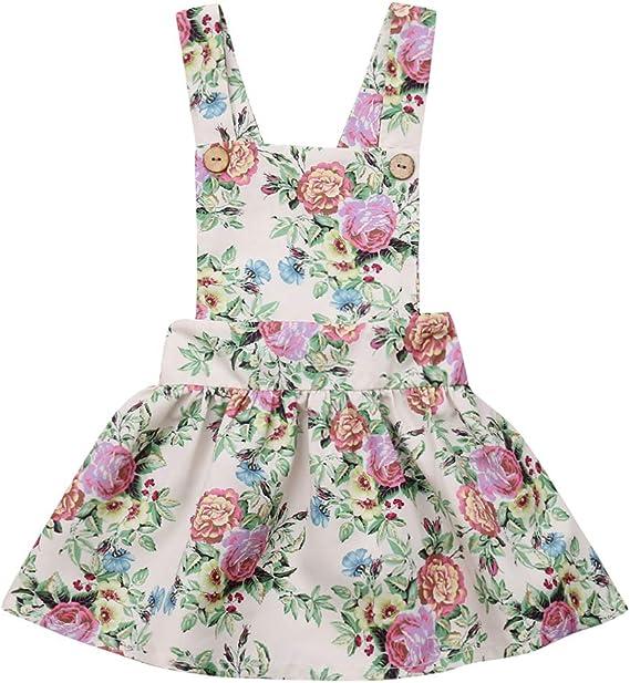 Mialoley Toddler Infant Baby Girls Strap Suspender Skirt Overalls Dress Backless Floral Ruffles Dresses Sundress Outfit